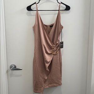 NWT Silky Pink Wrap Mini Dress